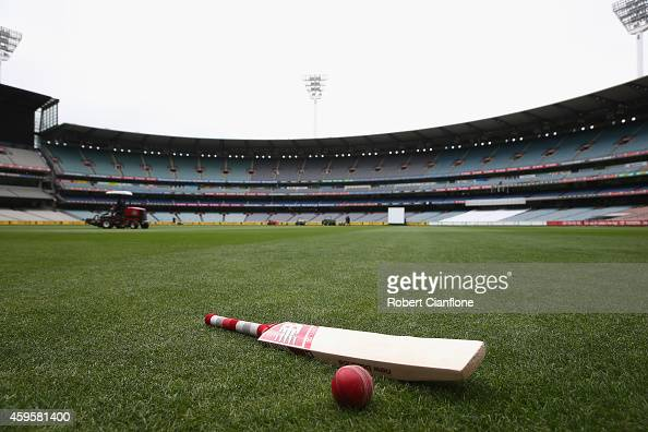 A bat and ball are seen on the turf ahead of day 2 of the Sheffield Shield match between Victoria and Western Australia at Melbourne Cricket Ground...