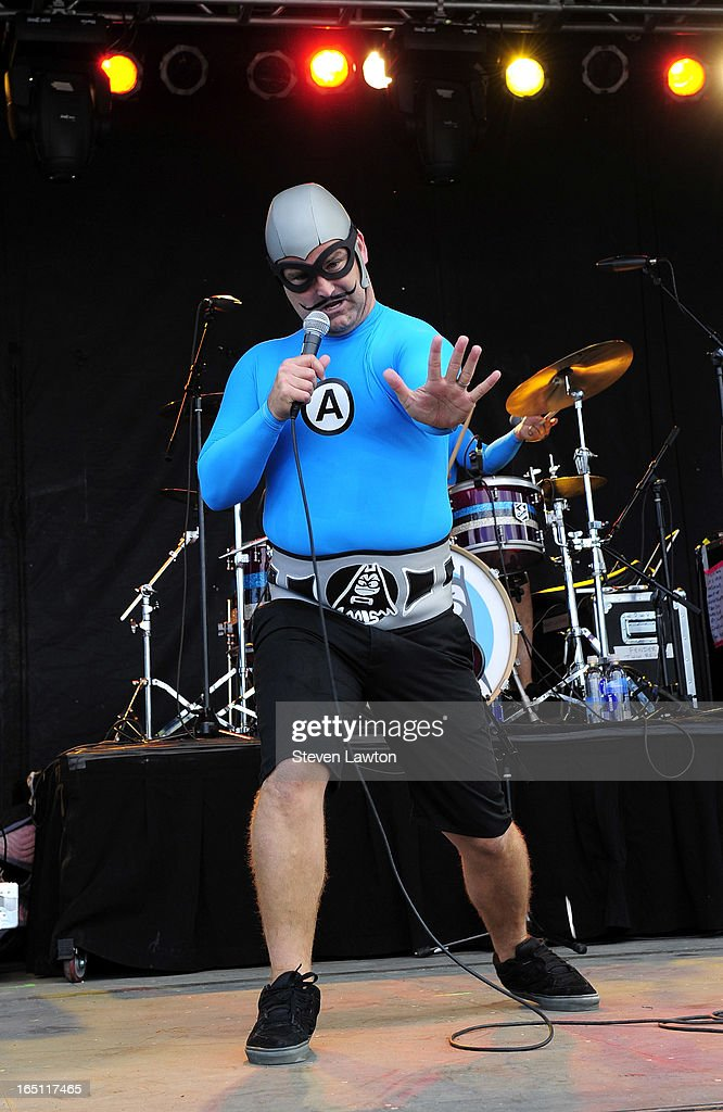 MC Bat Commander of The Aquabats performs during the 18th annual Extreme Thing Sports & Music Festival on March 30, 2013 in Las Vegas, Nevada.