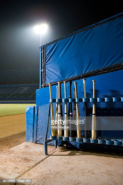 Bat rack in baseball dugout
