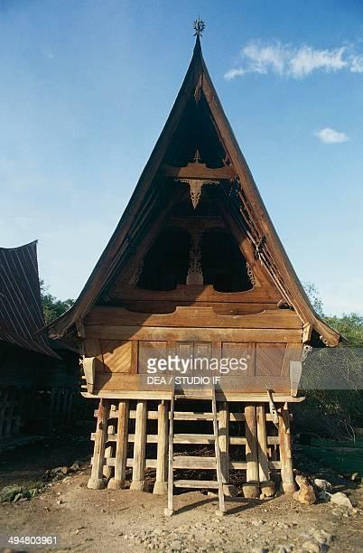 Batak houses in the vicinity of Lake Toba Sumatra Indonesia