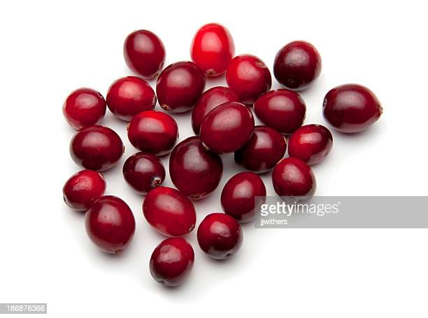 Batch of cranberries on white
