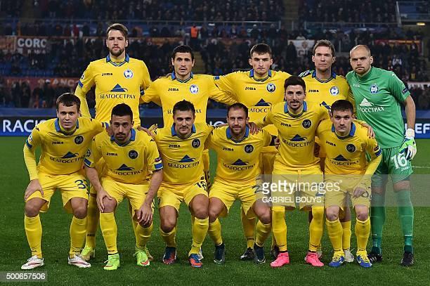 Bate Borisov players Bate Borisov's defender Nemanja Milunovic Bate Borisov's defender Maksim Zhavnerchik Bate Borisov's midfielder Evgeni Yablonski...