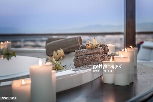 Bath and candles in luxury hotel room