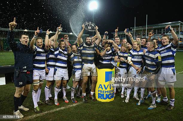 Bath celebrate as they receive the Aviva A League trophy after their victory after the Aviva A League Final between Northampton Saints and Bath at...