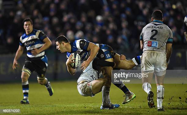 Bath centre Sam Burgess charges through the Montpellier defence during the European Rugby Champions Cup pool match between Bath Rugby and Montpellier...