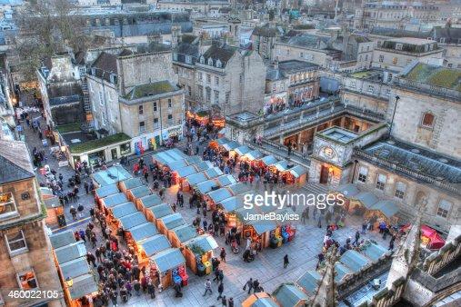 Bath Christmas Market and Roman Baths : Stock Photo