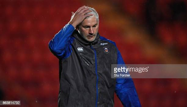 Bath coach Todd Blackadder reacts before the European Rugby Champions Cup match between Scarlets and Bath Rugby at Parc y Scarlets on October 20 2017...