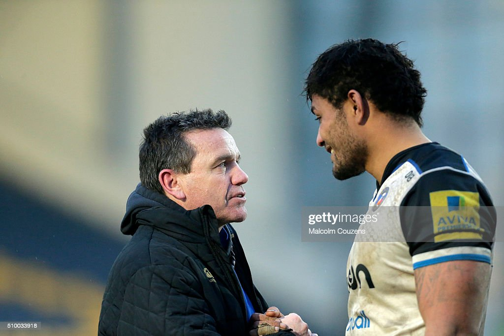 Bath director of rugby <a gi-track='captionPersonalityLinkClicked' href=/galleries/search?phrase=Mike+Ford+-+Rugby+Coach&family=editorial&specificpeople=1434343 ng-click='$event.stopPropagation()'>Mike Ford</a> talks to <a gi-track='captionPersonalityLinkClicked' href=/galleries/search?phrase=Amanaki+Mafi&family=editorial&specificpeople=15024452 ng-click='$event.stopPropagation()'>Amanaki Mafi</a> of Bath Rugby following the Aviva Premiership match between Worcester Warriors and Bath Rugby at Sixways Stadium on February 13,, in Worcester, England