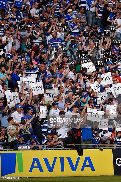 Bath fans show their support during the Aviva Premiership semi final match between Bath Rugby and Leicester Tigers at Recreation Ground on May 23...