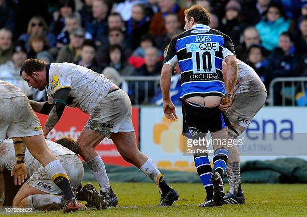 Bath flyhalf Butch James looses his shorts during the AVIVA Premiership match between Bath and Leeds Carnegie at Recreation Ground on January 8 2011...