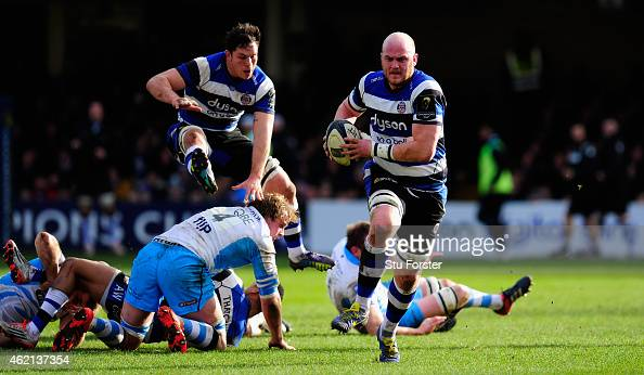 Bath forward Matt Garvey runs at the Glasgow defence during the European Rugby Champions Cup match between Bath Rugby and Glasgow Warriors at...