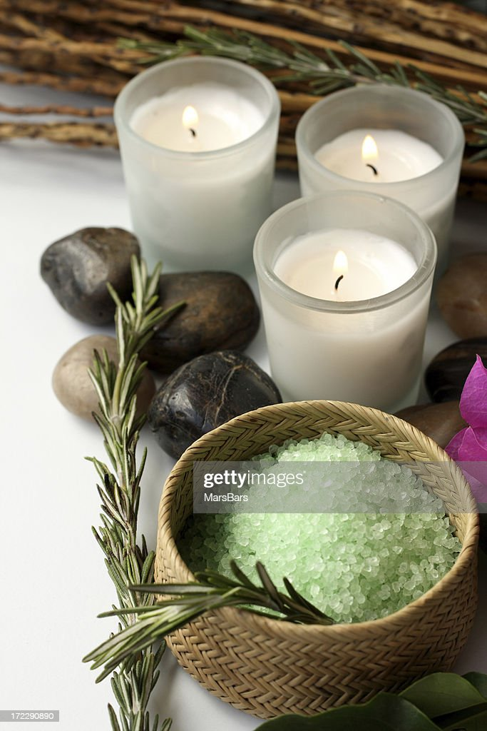 bath items in relaxing setting : Stock Photo