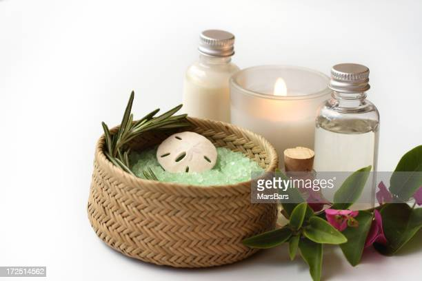 bath items with candle