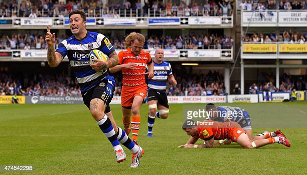 Bath player Matt Banahan runs in his third try during the Aviva Premiership semi final match between Bath Rugby and Leicester Tigers at Recreation...