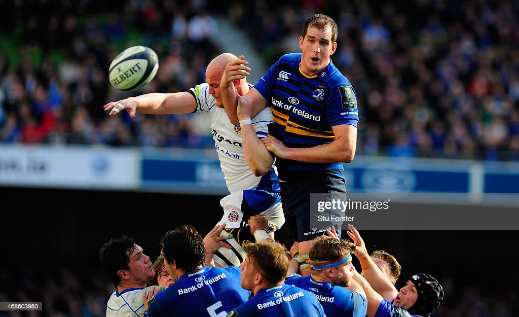 Bath player Matt Garvey is beaten in the lineout by Devin Toner of Leinster during the European Rugby Champions Cup Quarter Final match between Leinster Rugby and Bath Rugby at Aviva Stadium on April 4, 2015 in Dublin, Ireland.