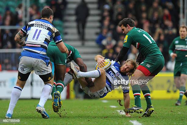 Bath player Nick Abendanon is stopped by the Tigers defence during the Aviva Premiership match between Leicester Tigers and Bath at Welford Road on...