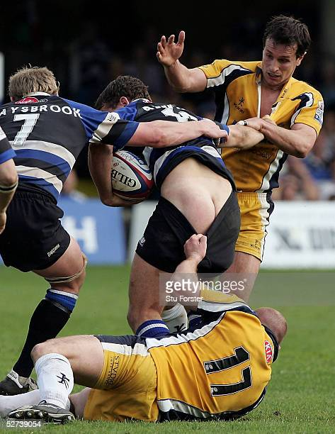 Bath player Olly Barkley has his shorts pulled down by Leeds forward Rob Rawlinson during the Zurich Premiership Match between Bath and Leeds Tykes...