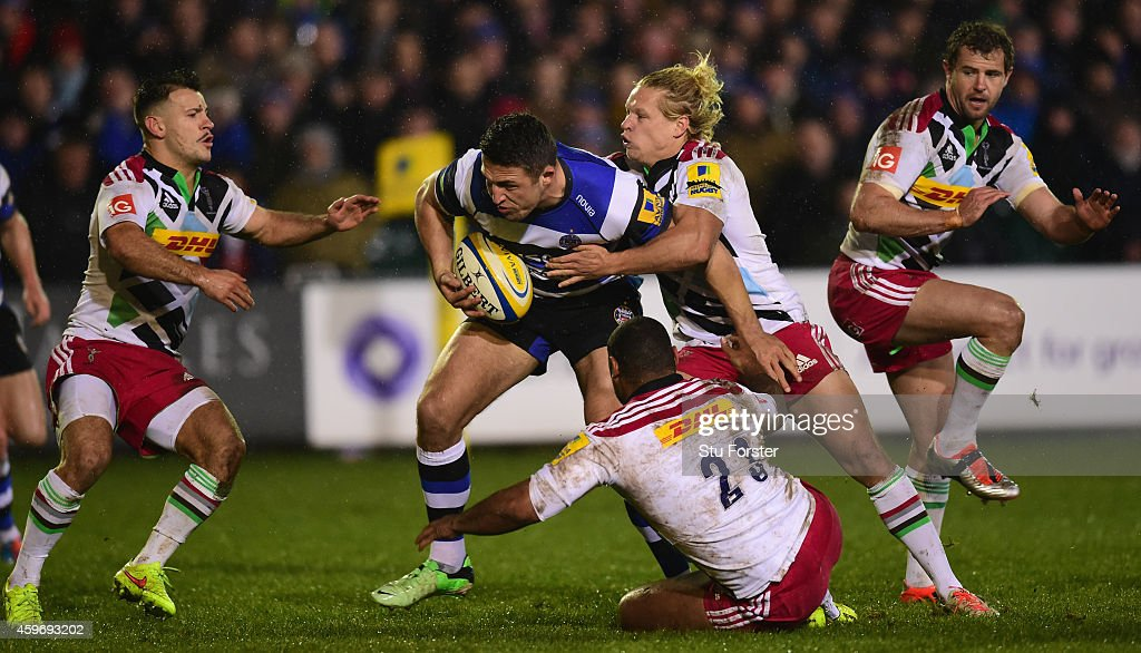 Bath player Sam Burgess runs at the Quins defence with his first touch of the ball after making his debut from the bench during the Aviva Premiership...