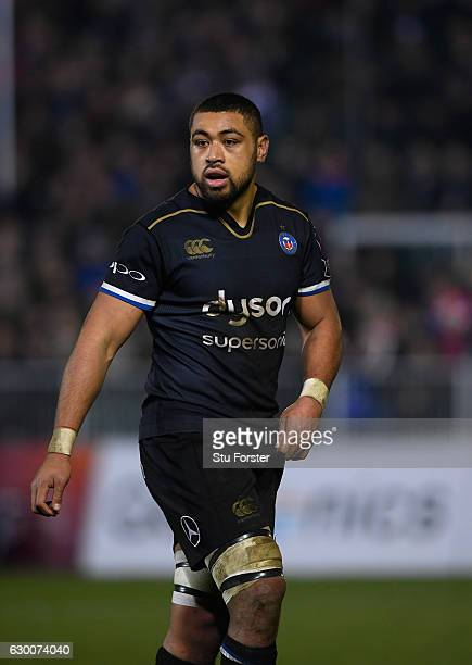 Bath player Taulupe Faletau looks on during the European Rugby Challenge Cup match between Bath Rugby and Cardiff Blues at The Recreation Ground on...