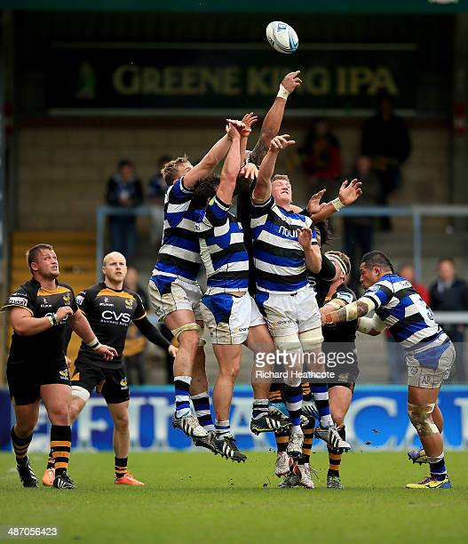 Bath players jump to win a loose lineout ball during the Amiln Challenge Cup SemiFinal match between London Wasps and Bath at Adams Park on April 27...