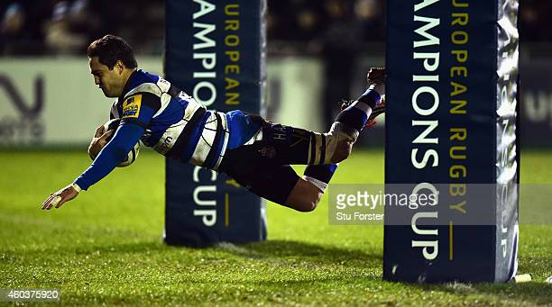 Bath replacement Horacio Agulla scores the fourth and final Bath try during the European Rugby Champions Cup pool match between Bath Rugby and...