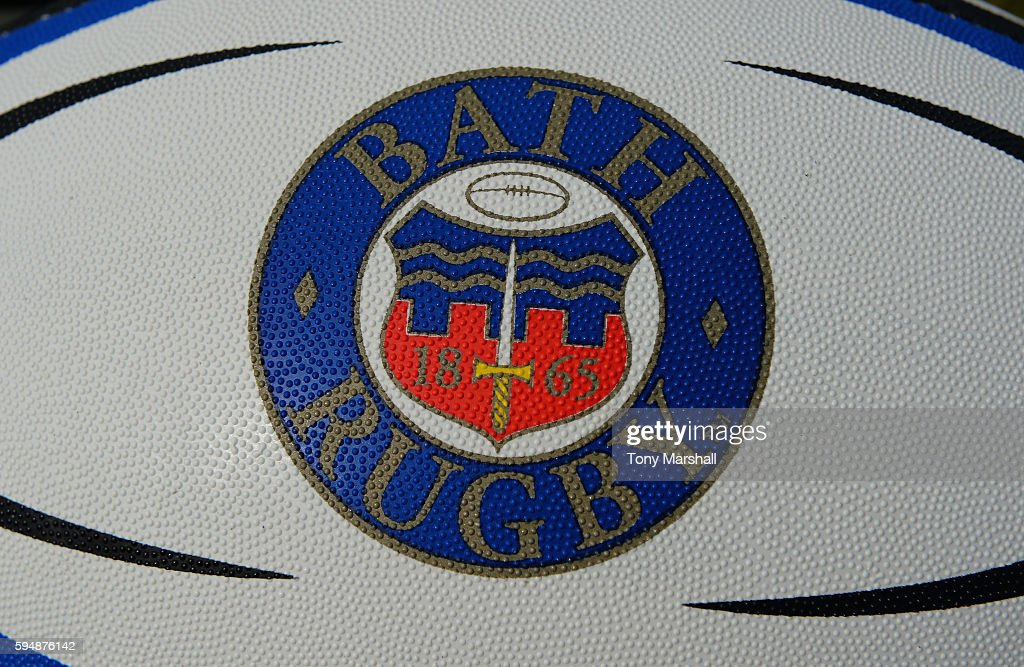 Bath Rugby branded rugby ball during the Bath Rugby squad photo call for the 20162017 Aviva Premiership Rugby season on August 24 2016 in Bath England