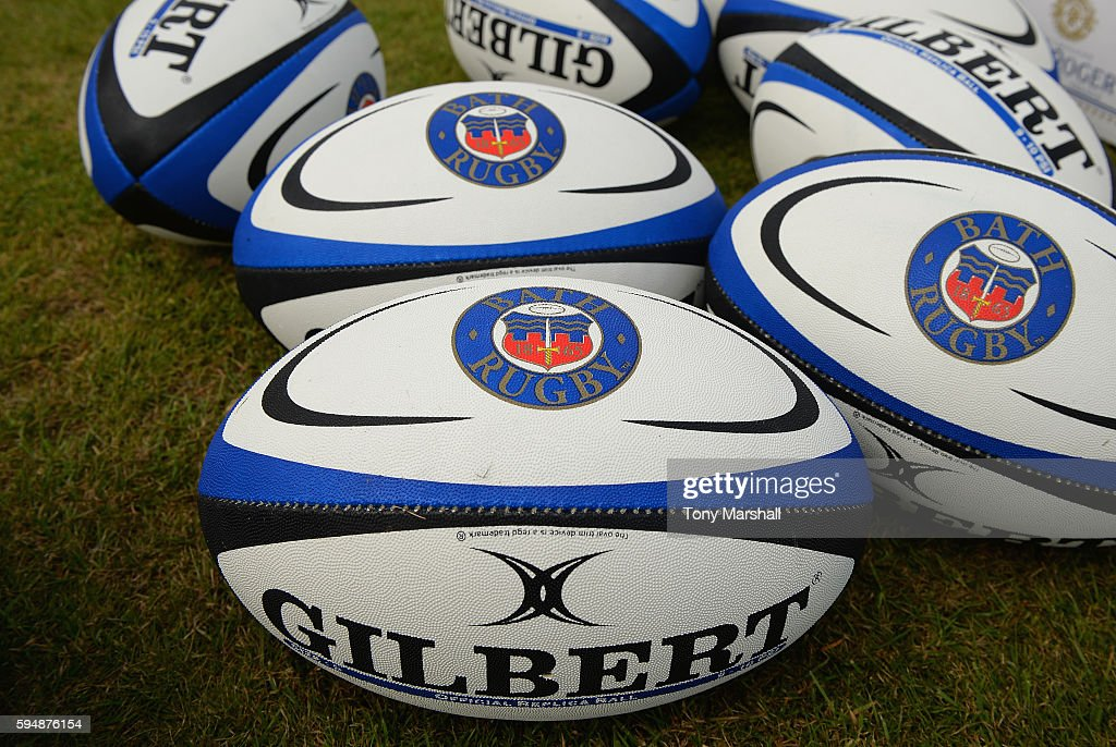 Bath Rugby branded rugby balls during the Bath Rugby squad photo call for the 20162017 Aviva Premiership Rugby season on August 24 2016 in Bath...