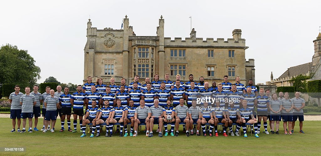 Bath Rugby First Team Squad Coaches and Staff pose for a group shot in front of Farleigh House during the Bath Rugby squad photo call for the...