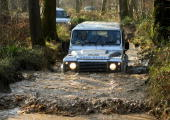 Bath Rugby players enjoy a day of offroad driving in Land Rover Discovery's Defender's and Range Rover Sport's at the Land Rover Experience centre in...