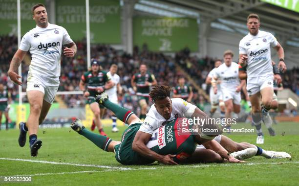Bath Rugby's Anthony Watson tackles Leicester Tigers' Brendon O'Connor during the Aviva Premiership match between Leicester Tigers and Bath Rugby at...
