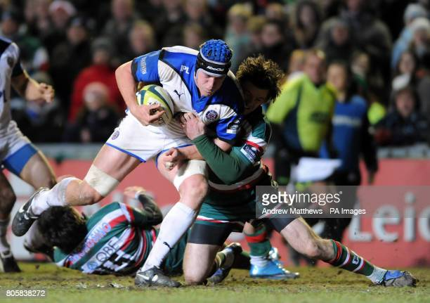 Bath Rugby's Ben Skirving is tackled by Leicester Tigers' Matt Smith during the LV Cup match at Welford Road Leicester