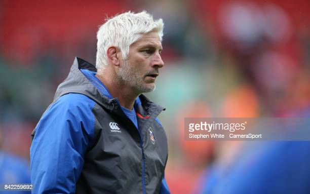 Bath Rugby's Head Coach Todd Blackadder during the pre match warm prior to the Aviva Premiership match between Leicester Tigers and Bath Rugby at...