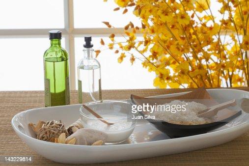Bath salt, coconut milk and bottles at spa : Foto stock