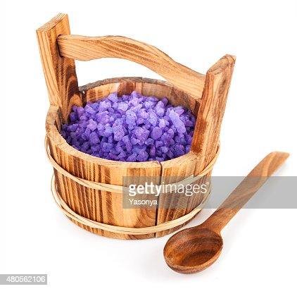 Bath salt in wooden bucket : Stock Photo