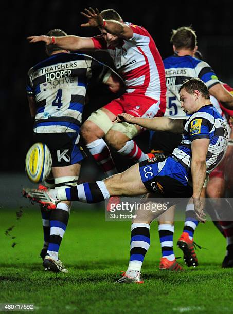 Bath scrum half Chris Cook clears his lines during the Aviva Premiership match between Gloucester Rugby and Bath Rugby at Kingsholm Stadium on...