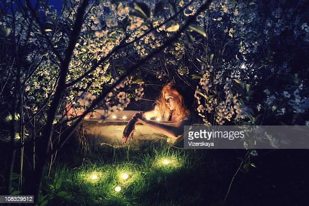 bath spring evening