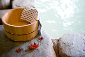 Bath tub with autumn leaves