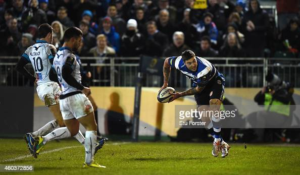 Bath wing Matt Banahan runs in his second try during the European Rugby Champions Cup pool match between Bath Rugby and Montpellier at Recreation...