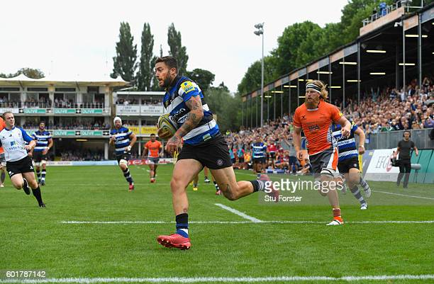 Bath wing Matt Banahan runs in the second try during the Aviva Premiership match between Bath Rugby and Newcastle Falcons at Recreation Ground on...