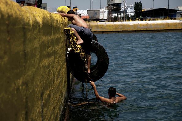 Refugees in Piraeus Port