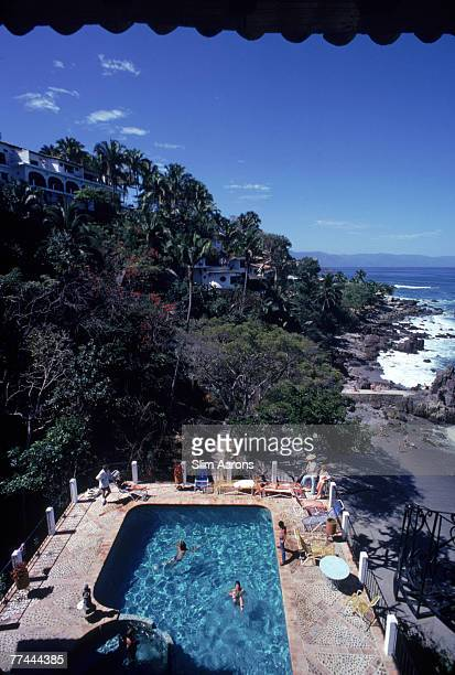 Bathers at a pool in Puerto Vallarta Mexico April 1979