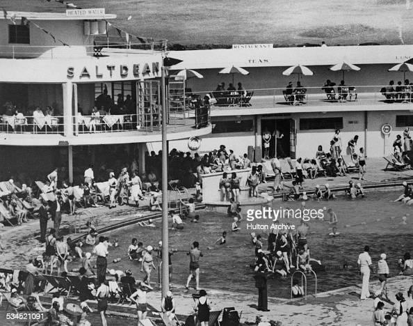 Bathers at Saltdean Lido East Sussex circa 1940