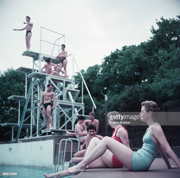 Bathers by the diving board at the Serpentine Lido in Hyde Park London circa 1955