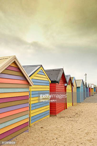 Bathing boxes in a row on the sand