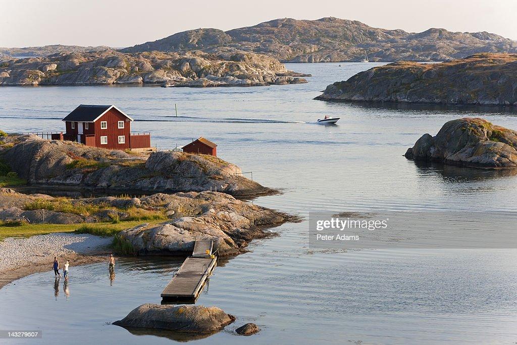 Bathing in Sea, Skarhamn, Island of Tjorn, Sweden : Stock Photo