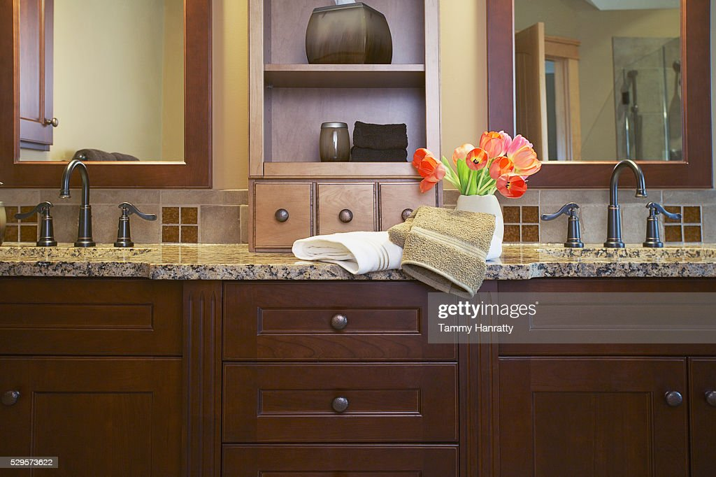 Bathroom counter : Stock Photo