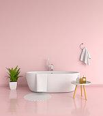 Pink bathroom interior, 3D rendering