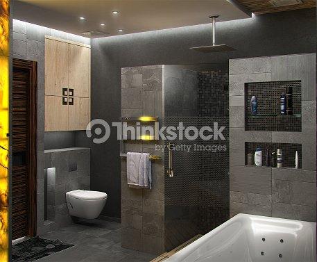 Ba o de dise o interior minimalista render 3d foto de for Diseno banos 3d