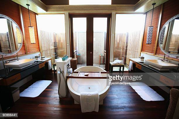 Bathroom of a beach villa owned by the luxurious ShangriLa's Villingili Resort and Spa Hotel on September 27 2009 in Male MaldivesThe maldive islands...