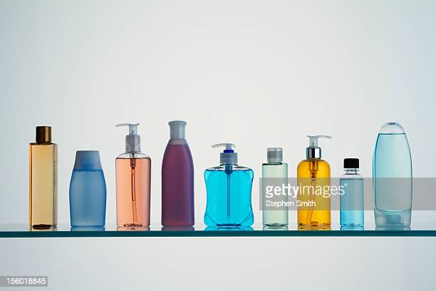 bathroom products on shelf